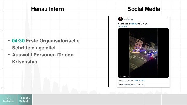 Hanau Intern Social Media • 08:00 Organisation erste Pressekonferenz • 08:30 Anmeldung Bouffier • 08:45 Anmeldung Steinmeye...