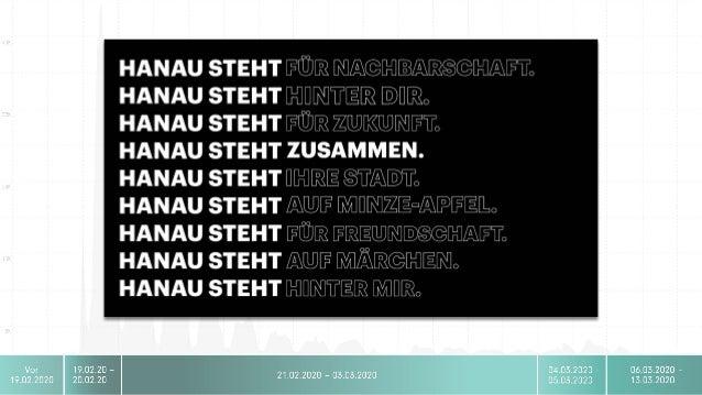 Hanau Intern Social Media •21.08.2020 Gedenkdemo abgesagt •22.08.2020 Streaming der Gedenkveranstaltung •Massive Reichweit...