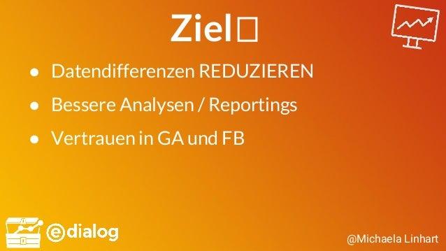 @Michaela Linhart Ziel ● Datendifferenzen REDUZIEREN ● Bessere Analysen / Reportings ● Vertrauen in GA und FB