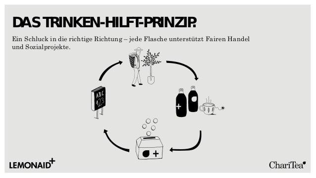 Ein Schluck in die richtige Richtung – jede Flasche unterstützt Fairen Handel und Sozialprojekte. DAS TRINKEN-HILFT-PRINZI...
