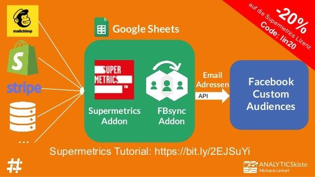 ANALYTICSkiste Michaela Linhart FBsync Addon Google Sheets API Facebook Custom Audiences Email Adressen Supermetrics Addon...