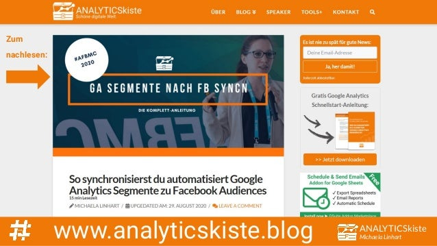 ANALYTICSkiste Michaela Linhartwww.analyticskiste.blog Zum nachlesen: