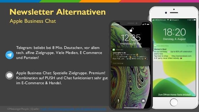 ©MessengerPeople   Quelle:: https://www.messengerpeople.com/de/apple-business-chat Newsletter Alternativen Telegram: belie...