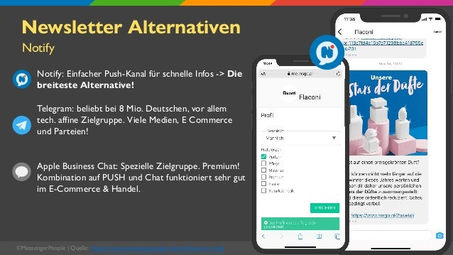 ©MessengerPeople   Quelle: https://www.messengerpeople.com/de/was-ist-notify Newsletter Alternativen Notify: Einfacher Pus...