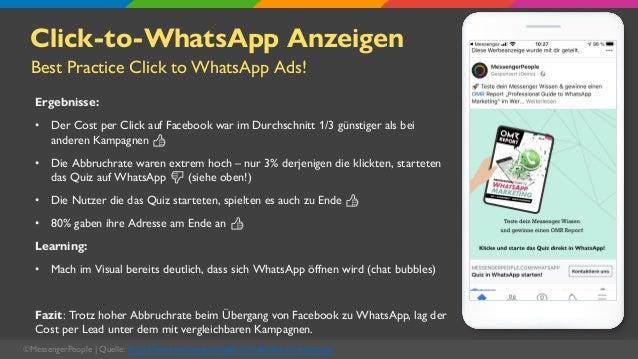 Click-to-WhatsApp Anzeigen Ergebnisse: • Der Cost per Click auf Facebook war im Durchschnitt 1/3 günstiger als bei anderen...