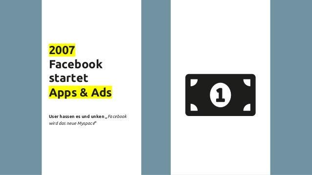 """2007 Facebook startet Apps & Ads User hassen es und unken """"Facebook wird das neue Myspace"""""""