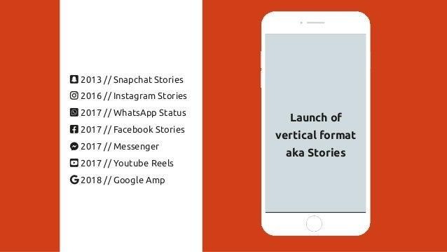Launch of vertical format aka Stories 2013 // Snapchat Stories 2016 // Instagram Stories 2017 // WhatsApp Status 2017 // F...