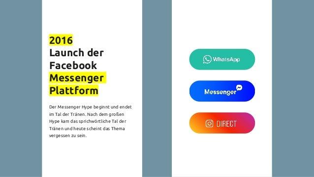 2016 Launch der Facebook Messenger Plattform Der Messenger Hype beginnt und endet im Tal der Tränen. Nach dem großen Hype ...