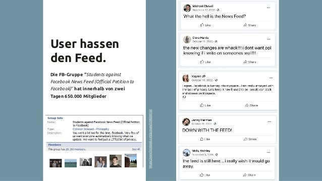 """User hassen den Feed. Die FB-Gruppe """"Students against Facebook News Feed (Official Petition to Facebook)"""" hat innerhalb von ..."""