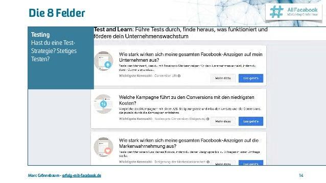 Marc Grönnebaum - erfolg-mit-facebook.de Die 8 Felder 14 Testing Hast du eine Test- Strategie? Stetiges Testen?