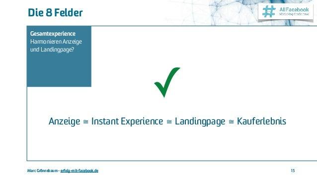 Marc Grönnebaum - erfolg-mit-facebook.de Die 8 Felder 15 Gesamtexperience Harmonieren Anzeige und Landingpage? Anzeige ≅ I...