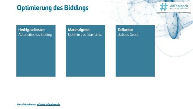 Marc Grönnebaum - erfolg-mit-facebook.de Optimierung des Biddings niedrigste Kosten Automatisches Bidding Maximalgebot O...