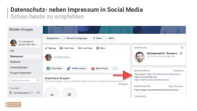 Datenschutz- neben Impressum in Social Media Schon heute zu empfehlen