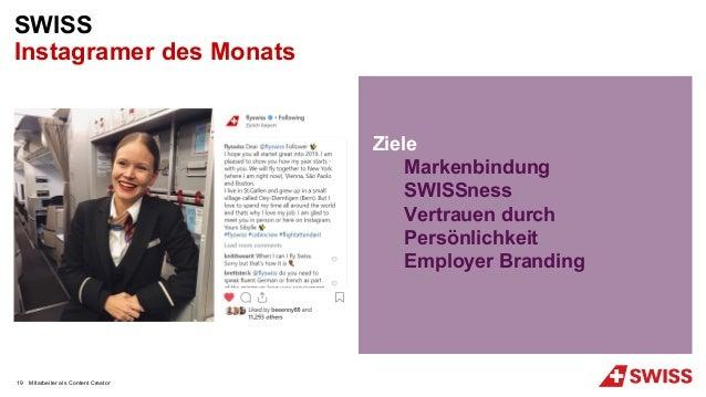 MItarbeiter als Content Creator SWISS Instagramer des Monats Ziele Markenbindung SWISSness Vertrauen durch Persönlichkeit ...