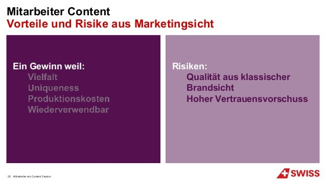Ein Gewinn weil: Risiken: Qualität aus klassischer Brandsicht Hoher Vertrauensvorschuss MItarbeiter als Content Creator Mi...