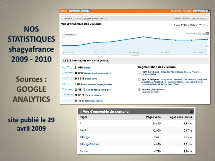 NOSSTATISTIQUES   shagyafrance  2009 - 2010Sources : GOOGLE ANALYTICSsite publié le 29 avril 2009 <br />