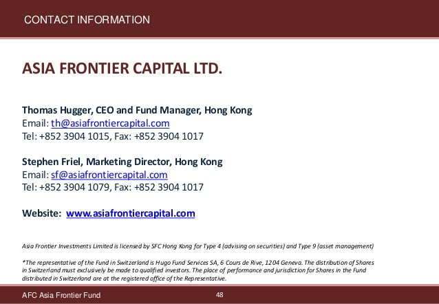 Asia Frontier Capital Afc Asia Frontier Fund