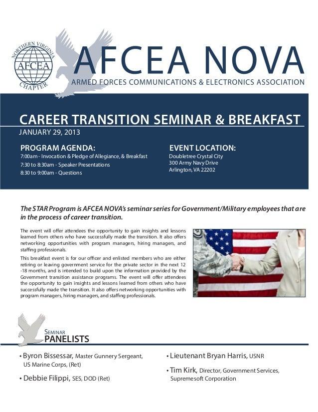 CAREER TRANSITION SEMINAR & BREAKFASTJANUARY 29, 2013PROGRAM AGENDA:                                                      ...