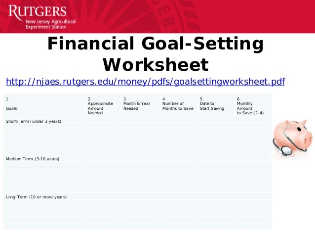 Financial goals worksheet pdf
