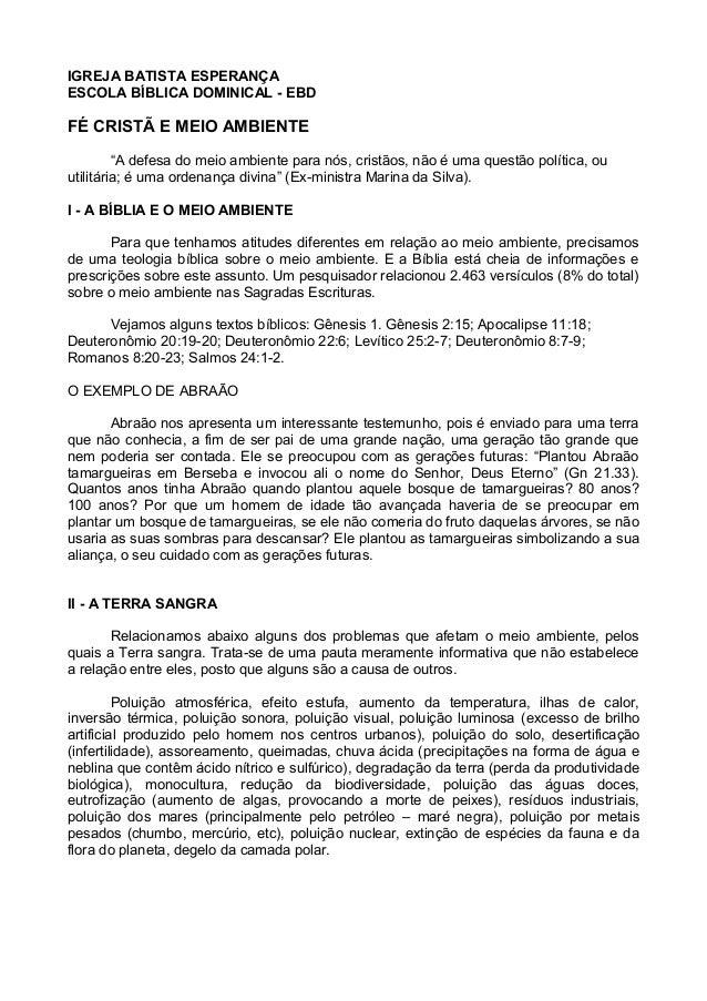 """IGREJA BATISTA ESPERANÇA ESCOLA BÍBLICA DOMINICAL - EBD FÉ CRISTÃ E MEIO AMBIENTE """"A defesa do meio ambiente para nós, cri..."""
