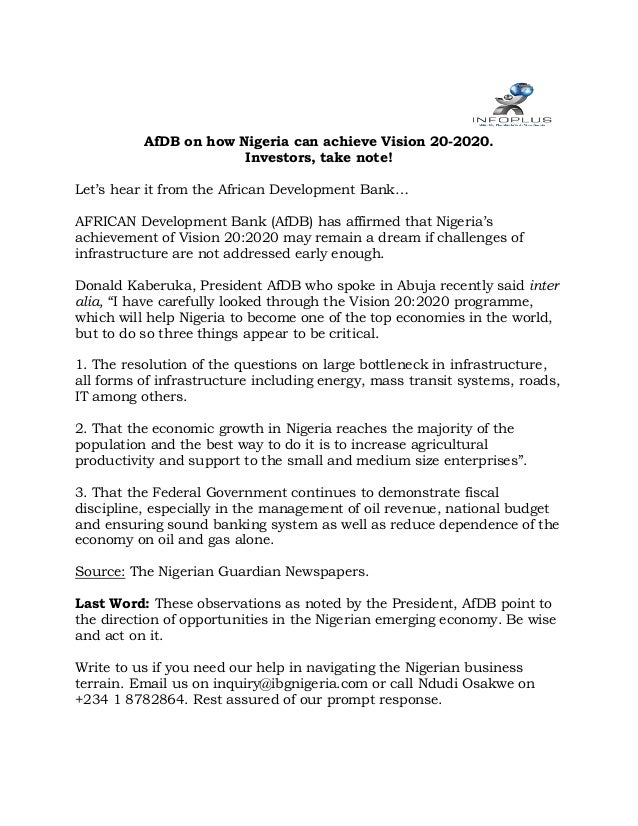 AfDB on how Nigeria can achieve Vision 20-2020. Investors, take note! Let's hear it from the African Development Bank… AFR...