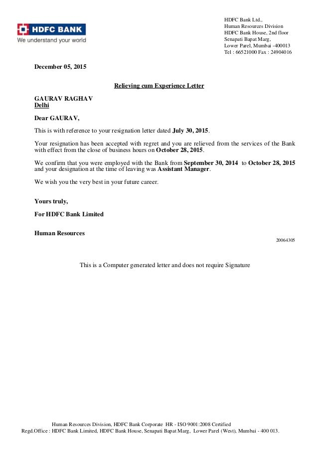December 05, 2015 Relieving Cum Experience Letter GAURAV RAGHAV Delhi Dear  GAURAV, This Is