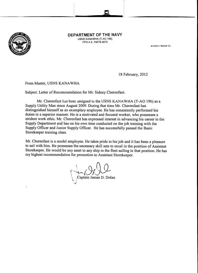 Letters Of Recommendation. A DEPARTMENT OF THE NAVY USNS KANAWHA (T·AO 196)  FPO A.E. 09576 ...