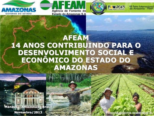 Manaus – Amazonas - Brasil Novembro/2013 TODOS OS DIREITOS RESERVADOS ® AFEAM 14 ANOS CONTRIBUINDO PARA O DESENVOLVIMENTO ...