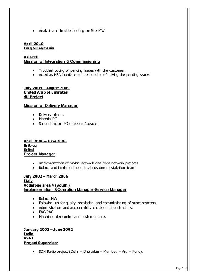Page 5 of 8  Analysis and troubleshooting on Site MW April 2010 Iraq Suleymania Asiacell Mission of Integration & Commiss...