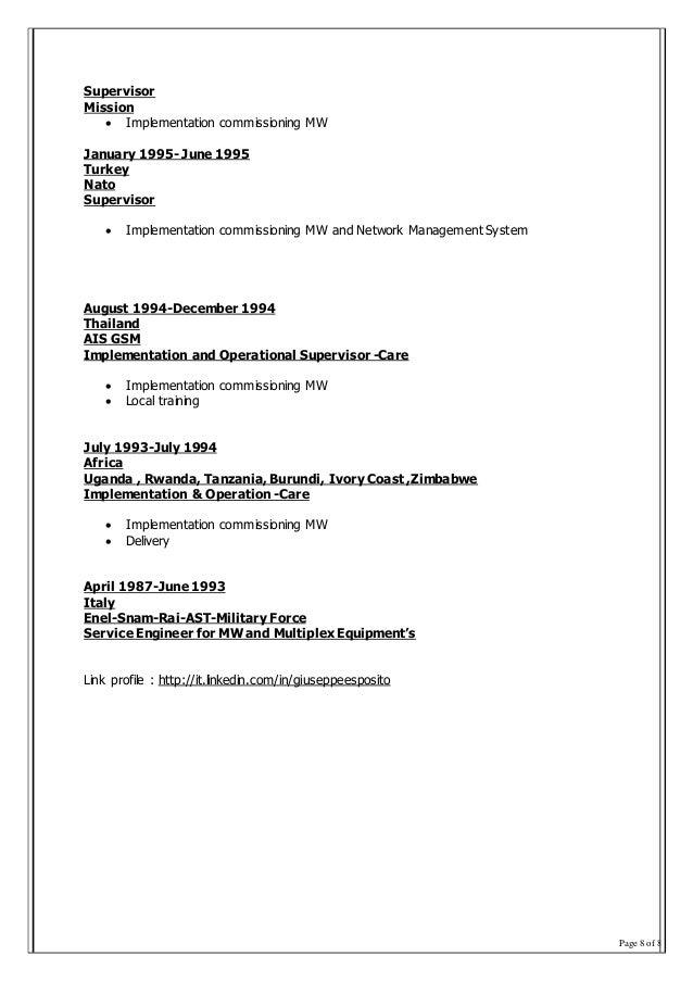 Page 8 of 8 Supervisor Mission  Implementation commissioning MW January 1995- June 1995 Turkey Nato Supervisor  Implemen...