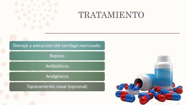 TRATAMIENTO Drenaje y extracción del cartílago necrosado. Reposo Antibióticos Analgésicos Taponamiento nasal (opcional)