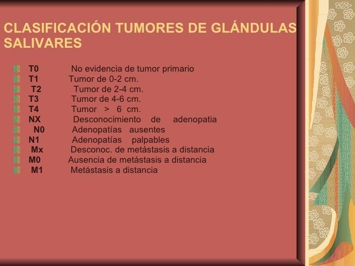 CLASIFICACIÓN TUMORES DE GLÁNDULAS SALIVARES   <ul><li>T0    No evidencia de tum...