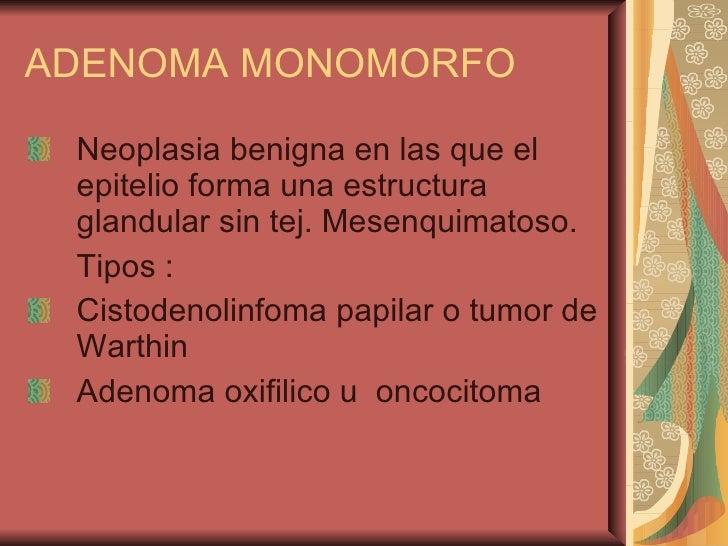 ADENOMA MONOMORFO <ul><li>Neoplasia benigna en las que el epitelio forma una estructura glandular sin tej. Mesenquimatoso....