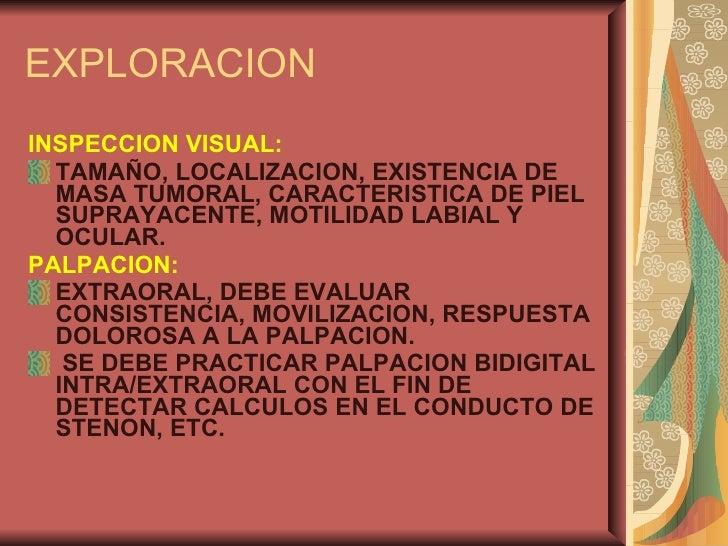 EXPLORACION <ul><li>INSPECCION VISUAL: </li></ul><ul><li>TAMAÑO, LOCALIZACION, EXISTENCIA DE MASA TUMORAL, CARACTERISTICA ...