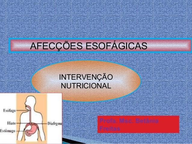 AFECÇÕES ESOFÁGICAS INTERVENÇÃO NUTRICIONAL Profa. Msc. Betânia Freitas