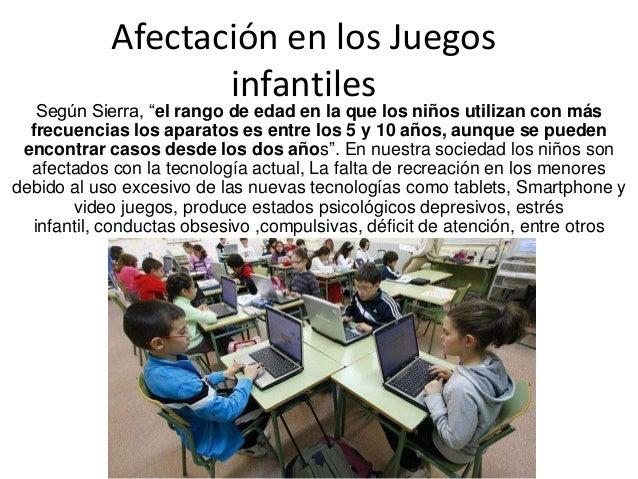 """Afectación en los Juegos infantiles  Según Sierra, """"el rango de edad en la que los niños utilizan con más frecuencias los ..."""