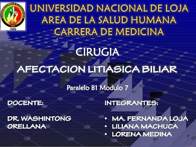 AFECCION LITIASICA BILIAR
