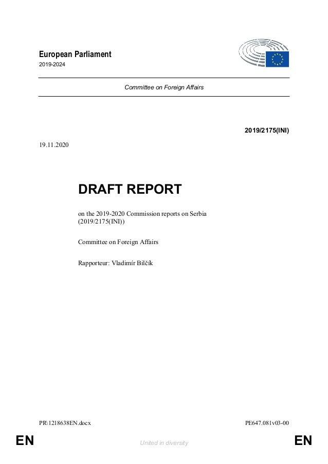 PR1218638EN.docx PE647.081v03-00 EN United in diversity EN European Parliament 2019-2024 Committee on Foreign Affairs 2019...