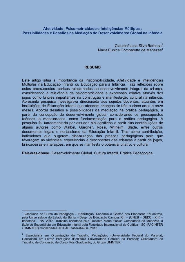 Afetividade, Psicomotricidade e Inteligências Múltiplas: Possibilidades e Desafios na Mediação do Desenvolvimento Global n...