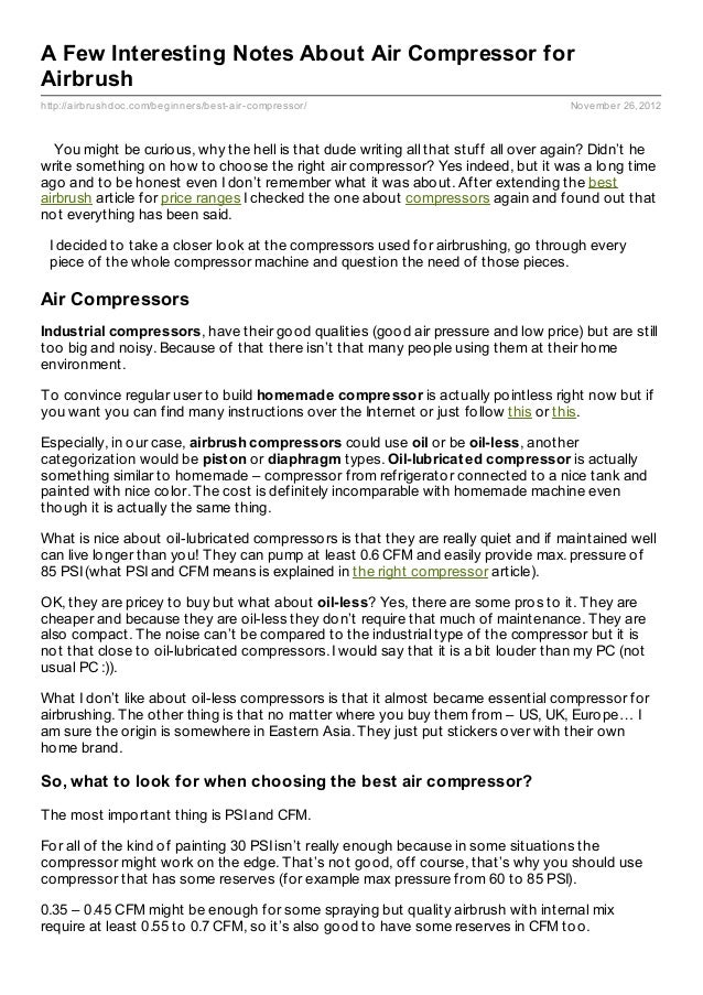 A Few Interesting Notes About Air Compressor forAirbrushhttp://airbrushdoc.com/beginners/best- air- compressor/           ...