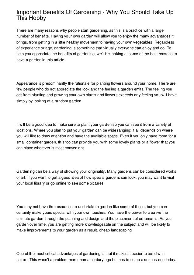 advantages of gardening essay