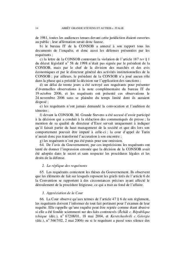 ARRÊT GRANDE STEVENS ET AUTRES c. ITALIE 15 informations essentielles concernant les faits de l'affaire afin d'induire la ...