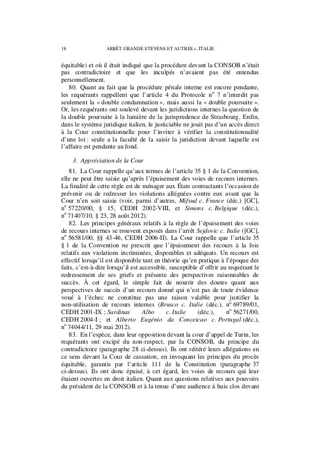 ARRÊT GRANDE STEVENS ET AUTRES c. ITALIE 19 la cour d'appel de Turin, il s'agissait, selon les requérants, de l'applicatio...