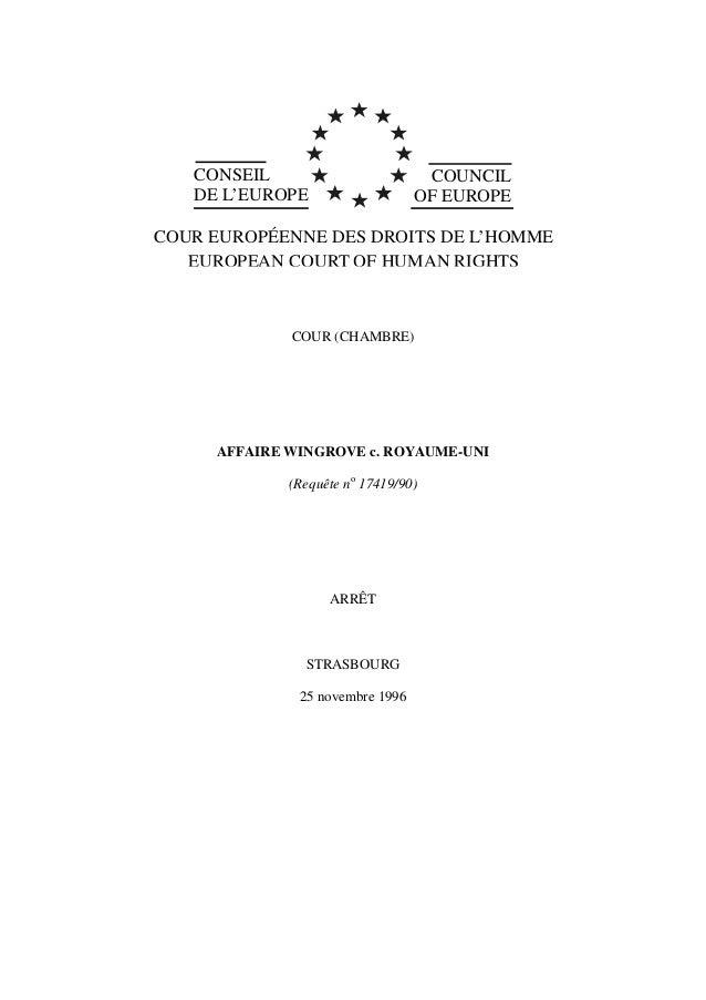 CONSEIL DE L'EUROPE COUNCIL OF EUROPE COUR EUROPÉENNE DES DROITS DE L'HOMME EUROPEAN COURT OF HUMAN RIGHTS COUR (CHAMBRE) ...