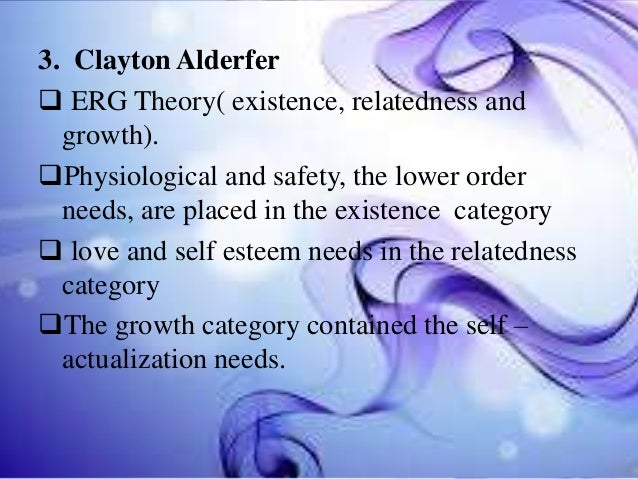 3. Clayton Alderfer  ERG Theory( existence, relatedness and growth). Physiological and safety, the lower order needs, ar...
