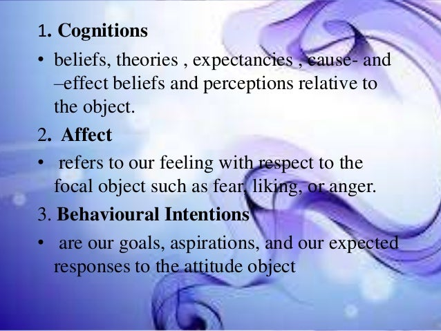 1. Cognitions • beliefs, theories , expectancies , cause- and –effect beliefs and perceptions relative to the object. 2. A...