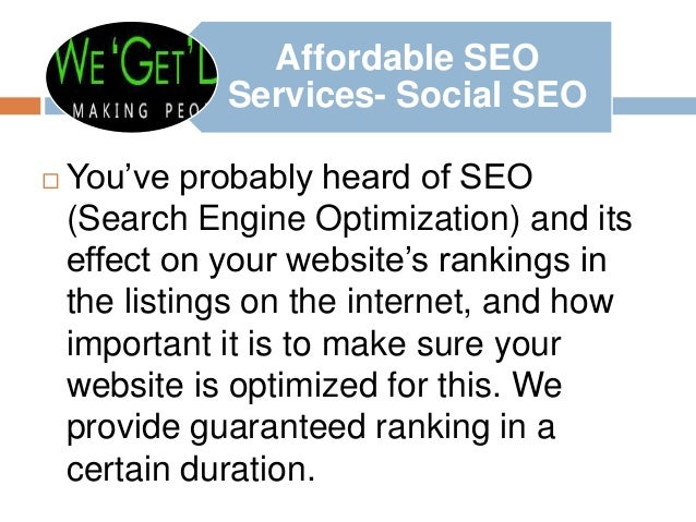 Afferdable seo services by digital marketing professionals wegetdegital Slide 3