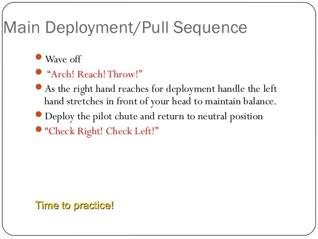 """Main Deployment/Pull Sequence 14 Wave off  """"Arch! Reach!Throw!"""" As the right hand reaches for deployment handle the lef..."""