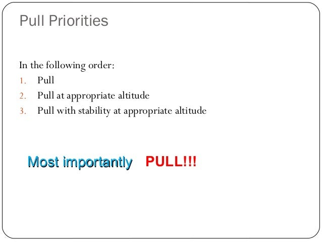 Pull Priorities 15 In the following order: 1. Pull 2. Pull at appropriate altitude 3. Pull with stability at appropriate a...