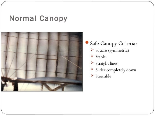 Normal Canopy Safe Canopy Criteria:  Square (symmetric)  Stable  Straight lines  Slider completely down  Steerable 33